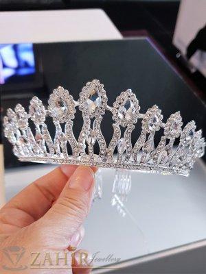 Висококачествена луксозна кристална корона, височина 5 см с белгийски кристали и две гребенчета - D1126