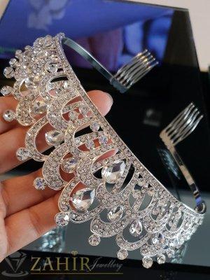 Удивителна луксозна кристална корона, височина 5 см с белгийски кристали и две гребенчета - D1127