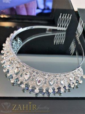 Първокласна луксозна кристална корона, височина 4 см с белгийски кристали и две гребенчета - D1129