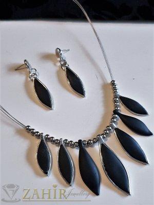 Матово-черни висулки на сребристо колие 45+ 9 см, тройна корда, обеци 5 см , на винт - E1024