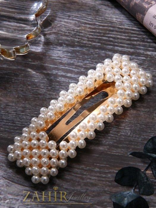 Аксесоари за коса - Хит луксозна шнола с нежни перли, дълга 7 см,тик-так закопчаване, златиста - FI1201