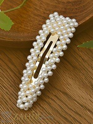 Хит луксозна шнола с нежни перли, дълга 9 см,тик-так закопчаване, златиста - FI1202