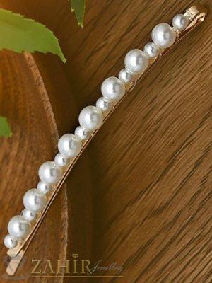 Хит луксозна фиба с нежни перли, дълга 8 см,високо качество, златиста основа - FI1206