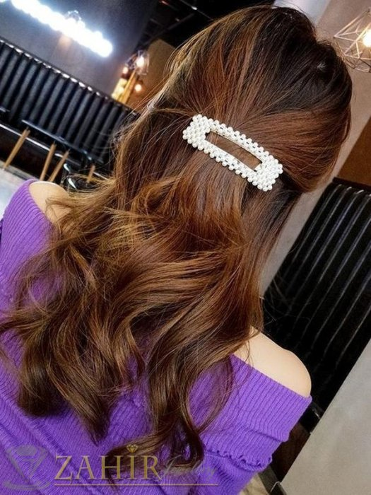 Хит луксозна шнола с нежни перли, дълга 8 см,тик-так закопчаване, златиста - FI1207