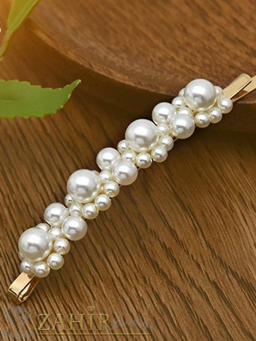 Аксесоари за коса - Хит луксозна фиба с нежни перли, дълга 8 см,перлени цветя, златиста основа - FI1209