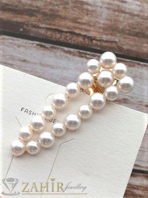 Хит луксозен щъркел с нежни перли, дълга 6 см,високо качество, златиста - FI1210