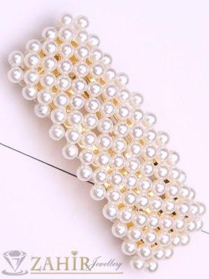 Хит луксозна шнола с нежни перли, дълга 7 см,тик-так закопчаване, златиста - FI1211