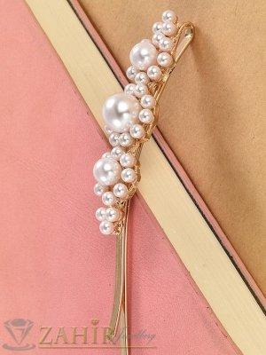 Хит луксозна фиба с нежни перли, дълга 8 см,високо качество, златиста основа - FI1212
