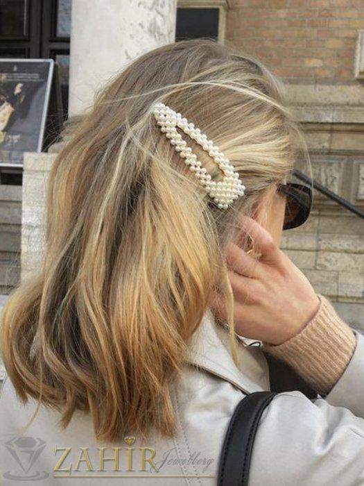Аксесоари за коса - Хит голяма шнола с нежни перли, дълга 9 см,тик-так закопчаване, златиста - FI1214
