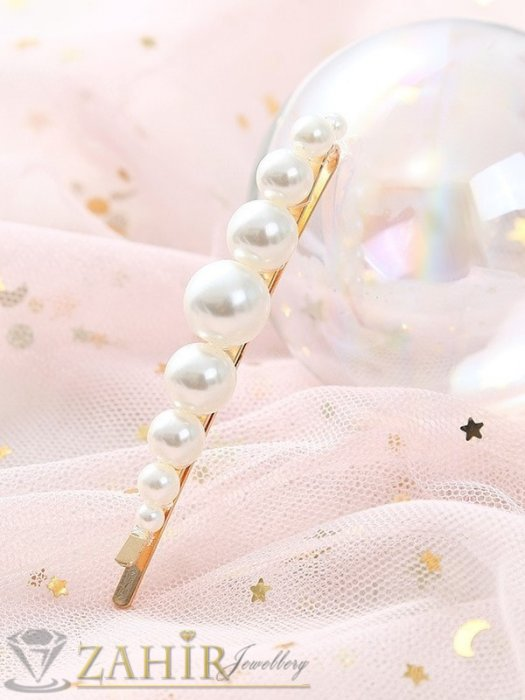 Аксесоари за коса - Хит луксозна фиба с големи и малки перли, дълга 8 см, златиста основа - FI1215