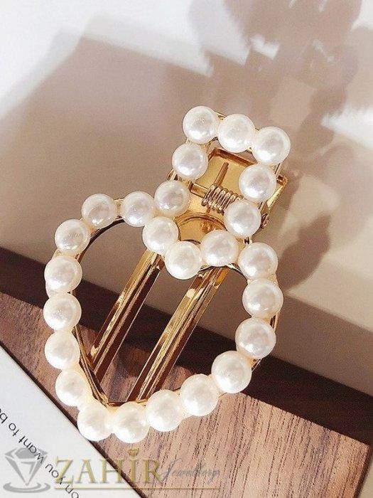 Хит шнола сърце с нежни перли, дълга 5 см, закопчаване щъркел, златиста - FI1218