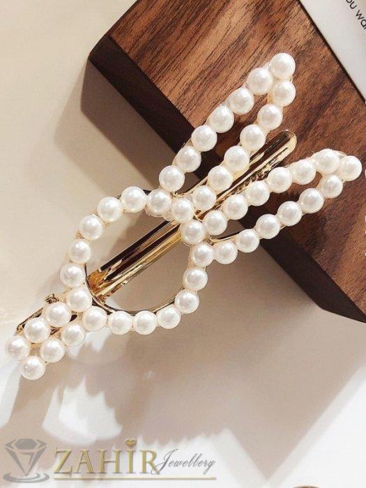 Хит шнола заешки уши с нежни перли, дълга 7 см, закопчаване щъркел, златиста - FI1219