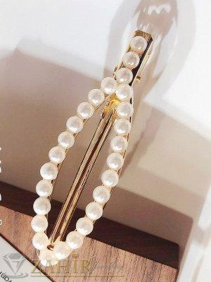 Хит луксозна шнола с нежни перли, дълга 7 см, закопчаване щъркел, златиста - FI1220