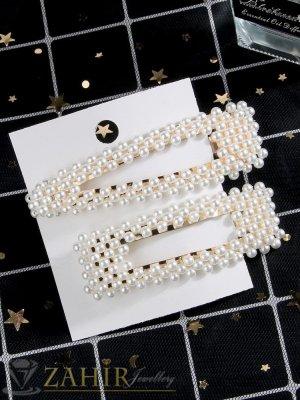 Сет от 2 перлени шноли , дълги 7 и 8 см, високо качество, златиста основа - FI1228