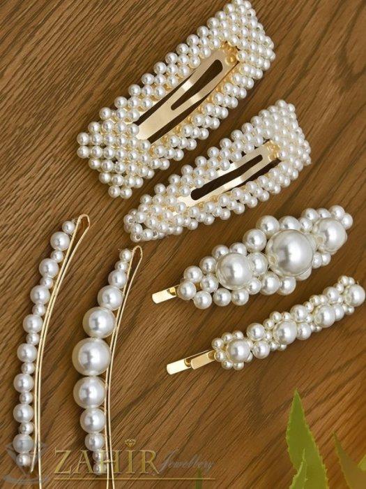 Аксесоари за коса - Сет от 6 перлени фиби и шнола , дълги 7 и 8 см, високо качество, златиста основа - FI1230