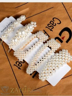 Сет от 5 перлени фиби и шнола , дълги 7 и 8 см, високо качество, златиста основа - FI1231