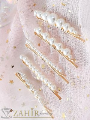 Сет от 5 перлени фиби , дълги 7 и 8 см, високо качество, златиста основа - FI1232