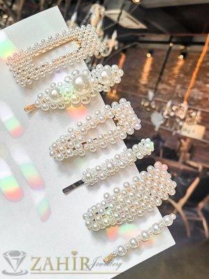Сет от 6 перлени фиби и шнола , дълги 7 и 8 см, високо качество, златиста основа - FI1233