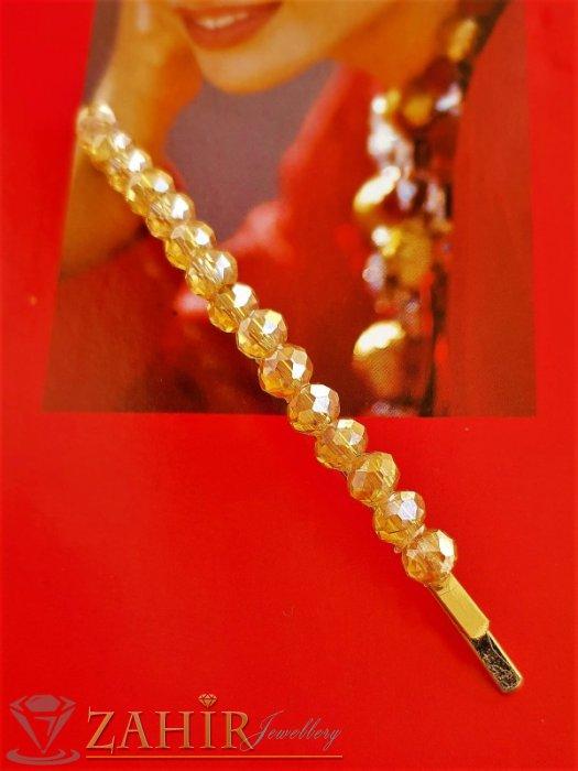 Високо качество метална позлатена фиба 9 см със златисти фасетирани кристали - FI1235