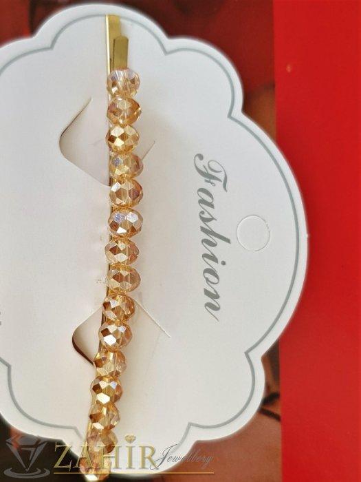 Аксесоари за коса - Високо качество метална позлатена фиба 9 см със златисти фасетирани кристали - FI1235
