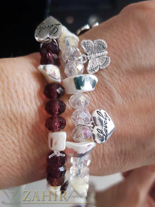 Дамски бижута - Цветни кристални гривни със седеф, сърце, детелина и пеперуда, ластични, 6 цвята - G2028