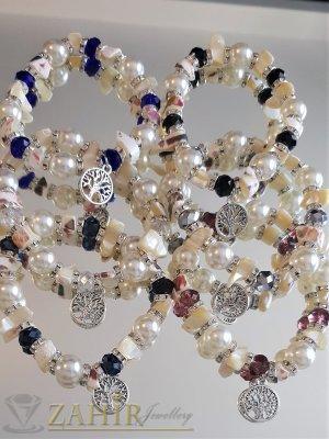 Перлено-седефени гривни с кристални рингове и мъниста, висулка Дървото на живота - G2029
