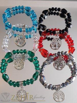 Кристални ластични гривни в 6 цвята с висулка Дъвото на живота, 7 ринга с камъни - G2032
