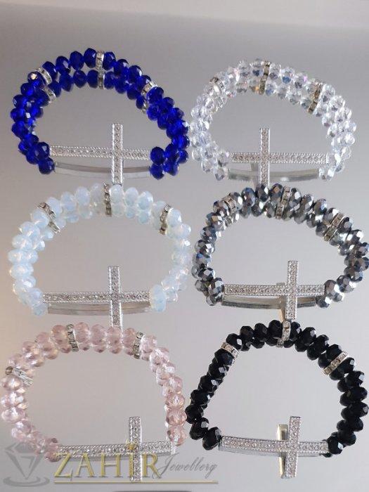 Кристален сребрист кръст 4 см на ластична гривна от кристални мъниста, 6 цвята - G2033