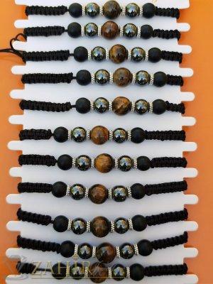Хематит, оникс и тигрово око на черна плетена гривна, регулираща се дължина - G2050