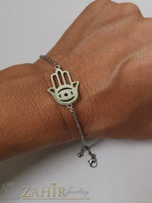 Ръката на Фатима на гривна за ръка или крак от неръждаема стомана на нежна верижка, регулируема дължина - G2057
