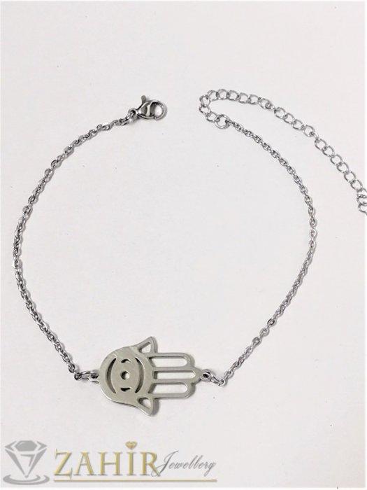 Дамски бижута - Ръката на Фатима на гривна за ръка или крак от неръждаема стомана на нежна верижка, регулируема дължина - G2057