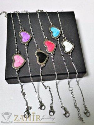6 цвята нежни сърчица от висококачествена стомана на нежни стоманени верижки, регулируема дължина - G2064