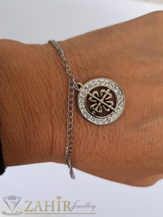 Дамски бижута - Нежна стоманена гривна с висулка кристална четирилистна детелина 2 см, регулируема дължина - G2066