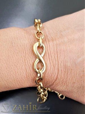Най-желаната стоманена верижка гривна с елемент безкрайност, 4 дължини, широка 0,7 см, позлатени звена - G2067