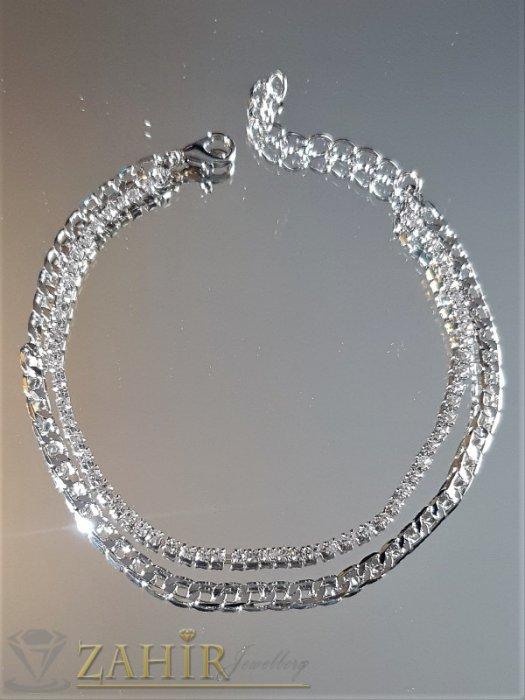 Впечатляваща двойна гривна за глезен, сребриста верижка и с кристали, дълга 20+5 см - GK1081