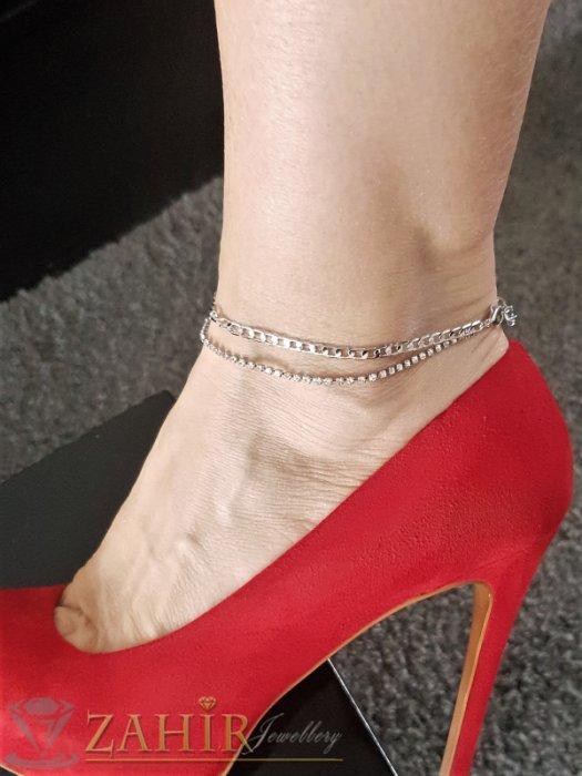 Дамски бижута - Впечатляваща двойна гривна за глезен, сребриста верижка и с кристали, дълга 20+5 см - GK1081