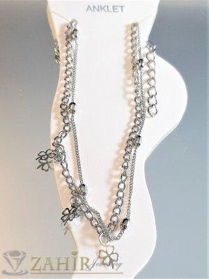 Двойна сребриста гривна за глезен с 2 красиви верижки и детелинки, дълга 20+5 см - GK1083