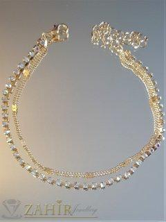Атрактивна златиста двойна гривна за глезен с ред кристали и верижка, дълга 20+5 см - GK1089