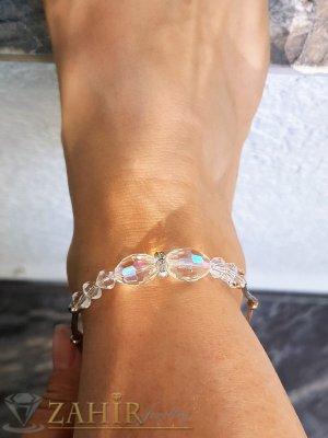 Първокласна кристална гривна за крак с фасетни бели кристали, сребриста, регулируема дължина - GK1105