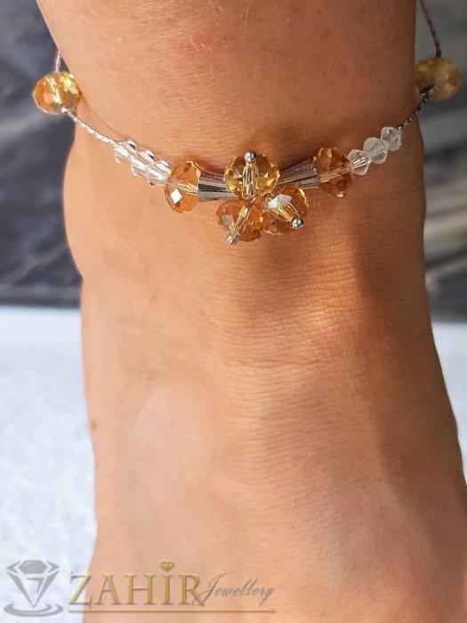 Единична бройка стоманена гривна за крак със златисти фасетни кристали, регулира се до 26 см - GK1112