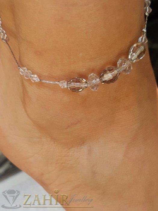 Дамски бижута - Бутикова стоманена гривна за глезен с прозрачни фасетни кристали, регулира се до 26 см - GK1114