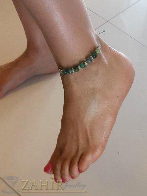 Синьо-зелен ахат и кристални рингове на регулираща се гривна за глезен, ръчна изработка - GK1135