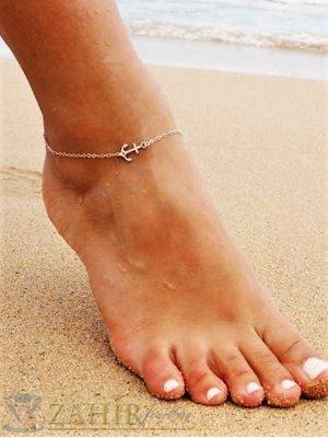 Непроменяща цвета си гривна за крак с нежно синджирче и котва 1 см, регулируема дължина - GK1147