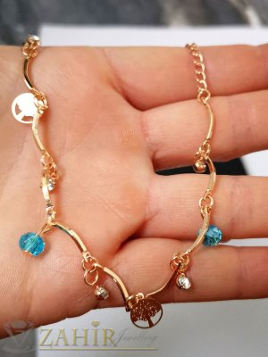 Сини, бели кристали и Дървото на живота на сладка позлатена гривна за крак, регулируема дължина - GK1148