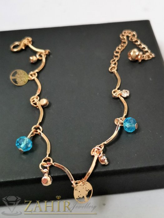 Дамски бижута - Сини, бели кристали и Дървото на живота на сладка позлатена гривна за крак, регулируема дължина - GK1148