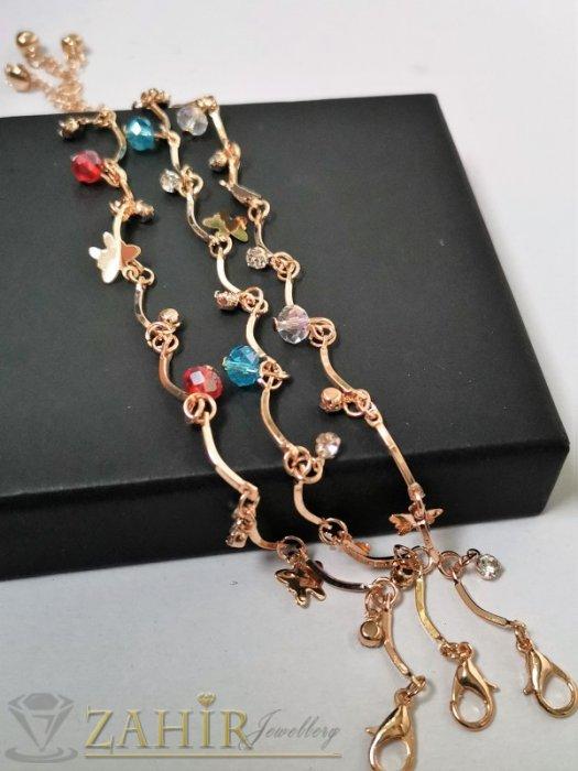 Дамски бижута - Сини, червени или бели кристали и нежни пеперуди на сладка позлатена гривна за крак, регулируема дължина - GK1149