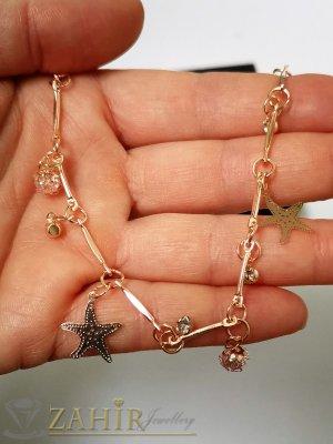 Морски звезди и кристалчета на позлатена гривна за крак, извити елементи, регулируема дължина - GK1150