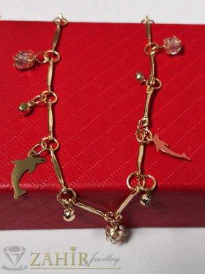 Морски делфини и бели кристалчета на позлатена гривна за крак, извити елементи, регулируема дължина - GK1151