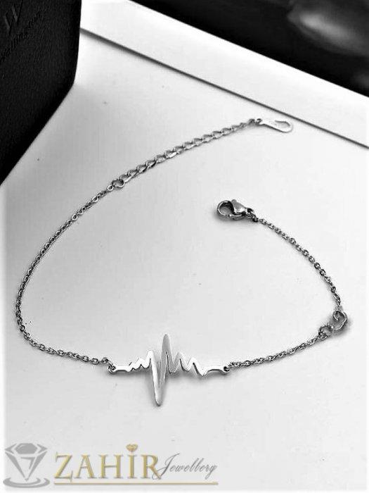 Дамски бижута - Непроменяща цвета си гривна за глезен с нежно синджирче и елемент сърдечен ритъм 3 см, 22 см с удължител 5 см - GK1156