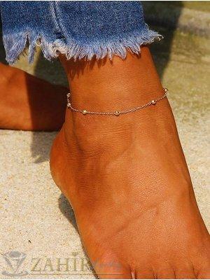 ХИТ нежна изчистена стоманена гривна за крак  с малки топчета дълга 22 см с удължител 5 см, позлатена - GK1161